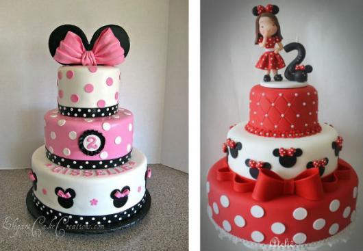 Bolo personalizado Minnie com 3 andares nas cores branco e rosa