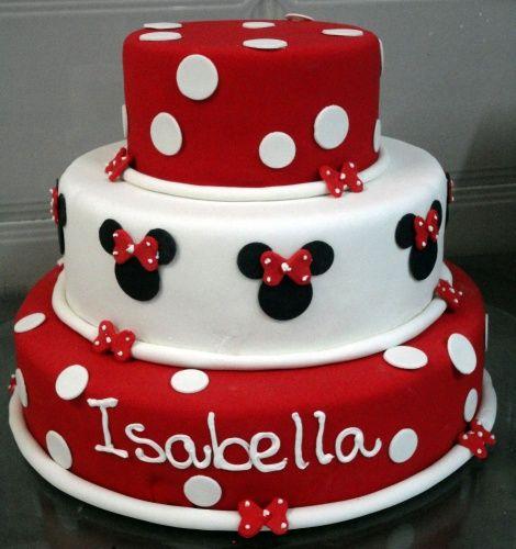 Bolo personalizado Minnie com 2 andares nas cores vermelho e branco