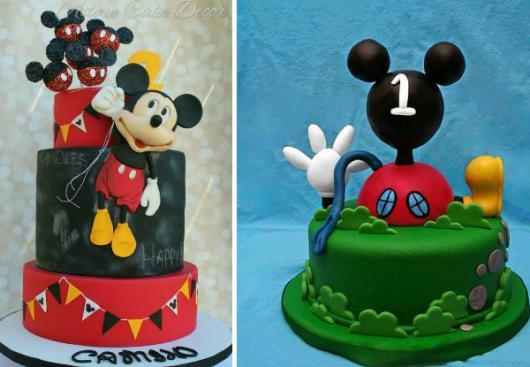 Bolo personalizado Mickey verde e vermelho