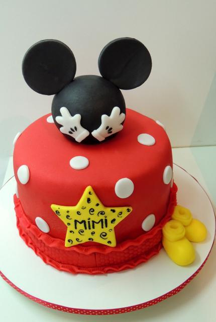 Bolo personalizado Mickey com bolinhas brancas