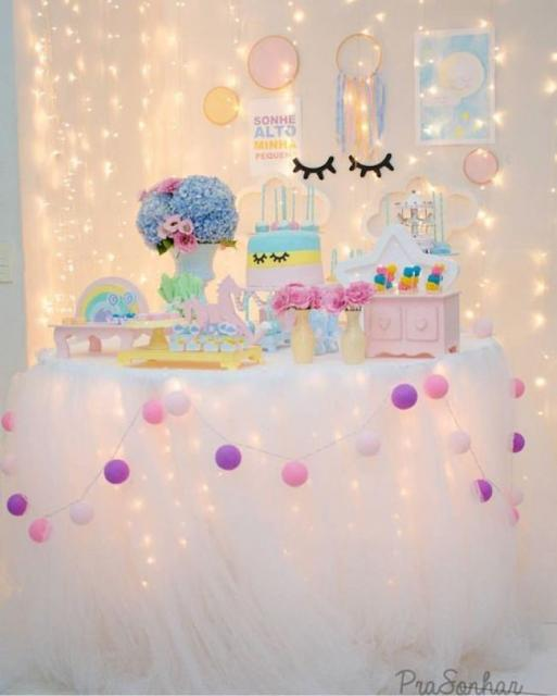Enfeites de Unicórnio para festa: cores Candy Colors