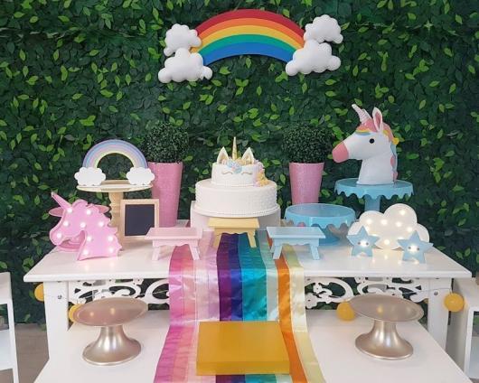 Enfeites de Unicórnio para festa: toalha do arco-íris