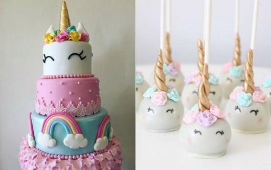 Enfeites de Unicórnio para festa: bolo e maça do amor