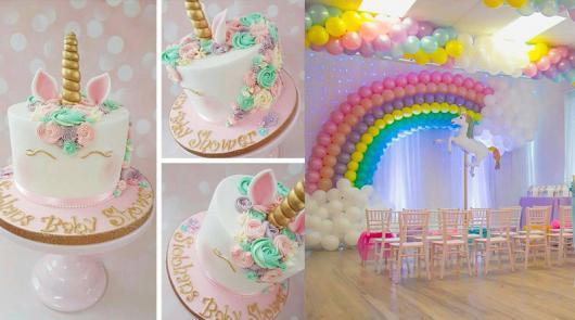Enfeites de Unicórnio para festa: balões em formato de arco-íris