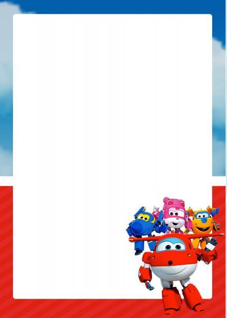 Festa Super Wings convite cartão