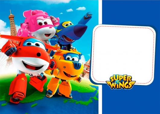Festa Super Wings convite com fundo azul
