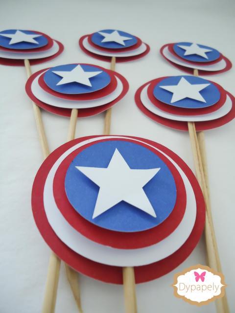 Lembrancinha do Capitão América escudo no palito