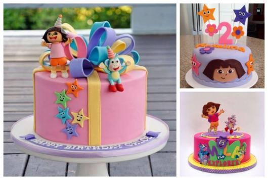 Montagem com três imagens de bolo Dora Aventureira.