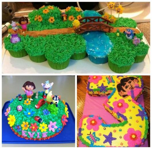 Três exemplos de bolo Dora Aventureira com chantilly.