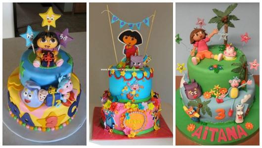 Montagem com três bolos Dora Aventureira.