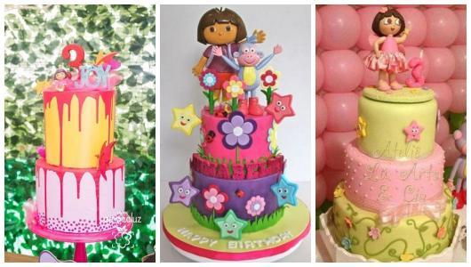 Montagem com três exemplos de bolo Dora Aventureira cenográfico.