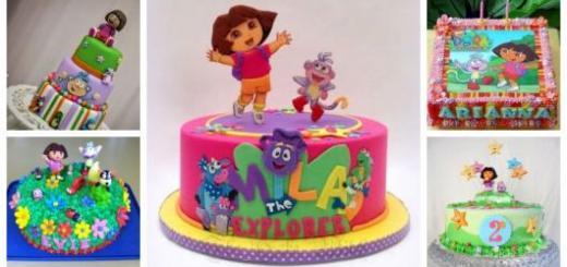 Montagem com cinco exemplos de bolo Dora Aventureira.