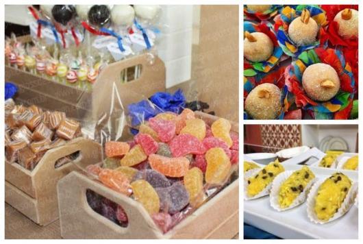 Montagem com exemplos de doces de festa junina.