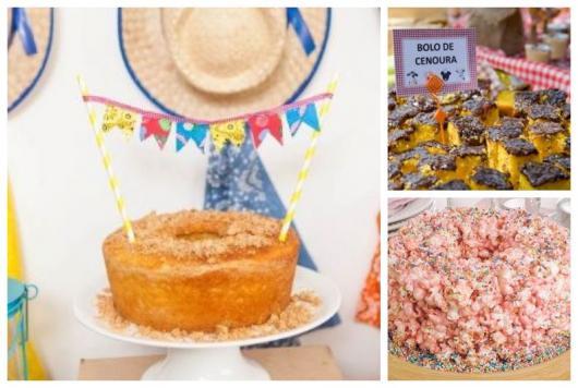 Montagem com três tipos de bolos para festa junina.