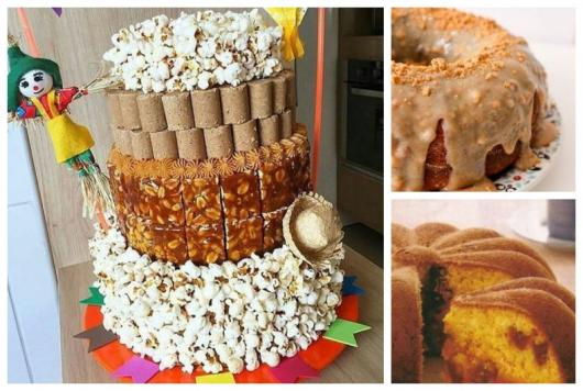 Montagem com três fotos de bolos para festa junina.