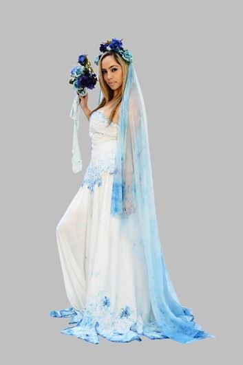 vestido branco e véu azul fantasia noiva cadáver