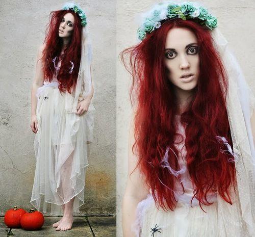 fantasia noiva cadáver com cabelos vermelhos