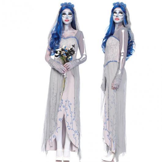fantasia noiva cadáver adulto com peruca azul