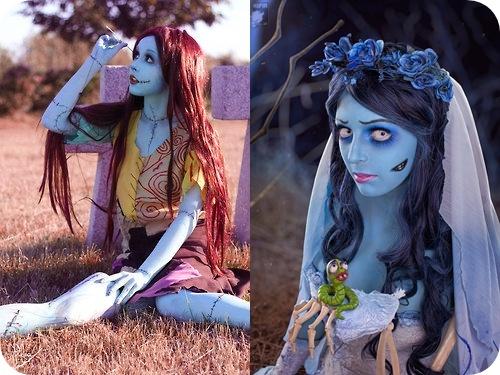 fantasia noiva cadáver com maquiagem