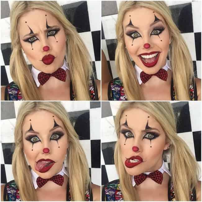 Maquiagem fácil para fantasia de palhaço feminina