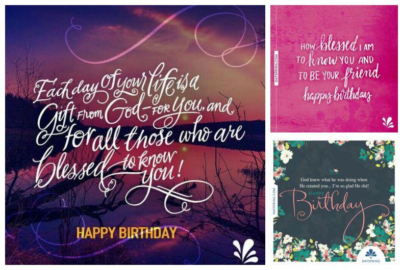 Montagem com mensagens de aniversário em inglês.