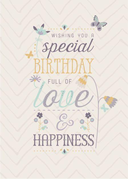 Mensagem de aniversário com palavras coloridas e fundo listrado.