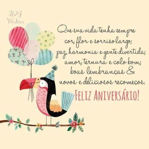 Mensagem de aniversário com desenho de tucano.