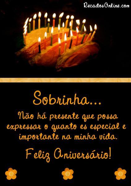 Mensagem de aniversário com fundo preto.