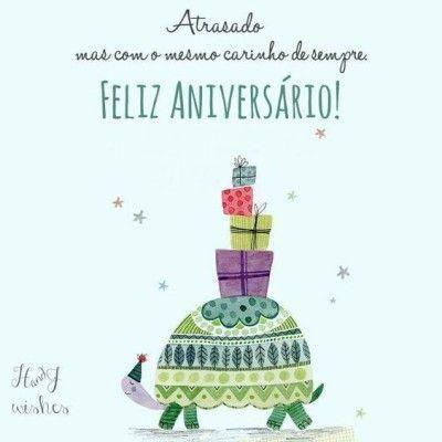 Imagem com mensagem de aniversário e desenho de tartaruga.