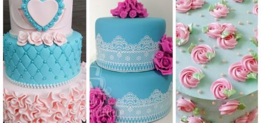 decoração azul e rosa para bolo