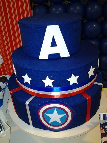 Bolo do Capitão América fake azul escuro