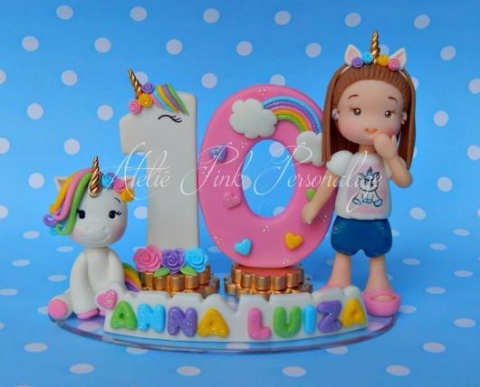 Topo de bolo Unicórnio personalizado com nome