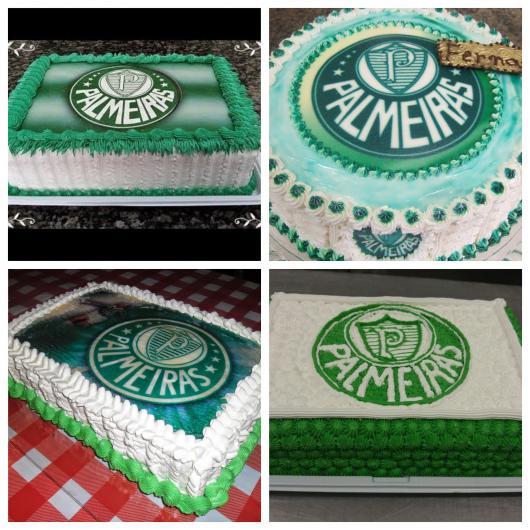 Diferentes versões do bolo do Palmeiras simples de 1 andar