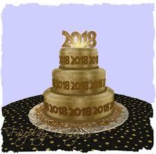 Bolo de Ano Novo com 3 andares dourado