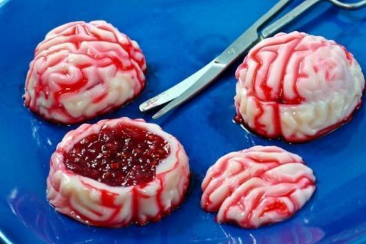 Comidas de Halloween: cérebro de gelatina