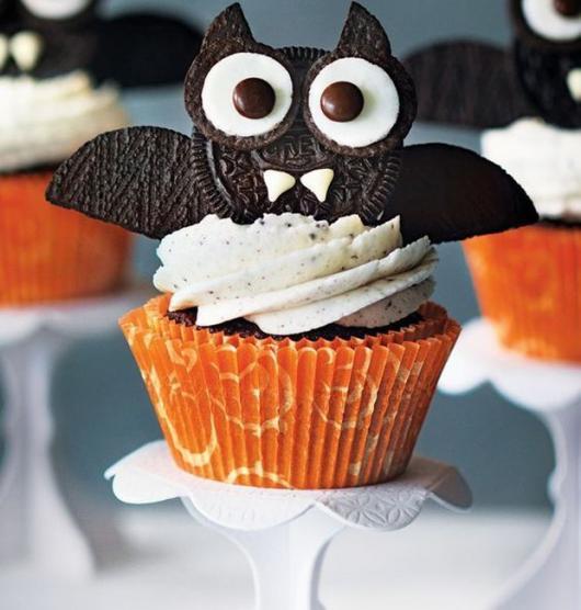 Comidas de Halloween: Cupcake de morcego
