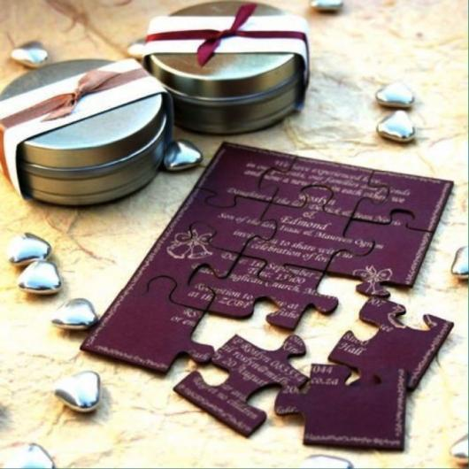 quebra-cabeça é muito usada para convidar padrinhos de casamento