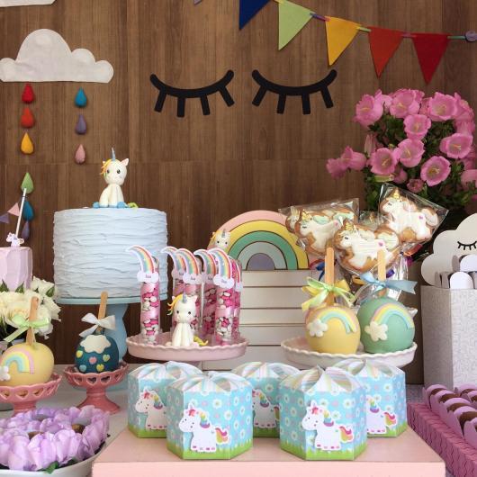 Decoração de festa infantil Unicórnio com kit festa