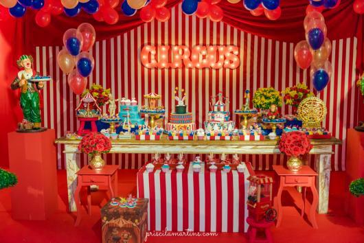 Decoração de festa infantil Circo com painel iluminado