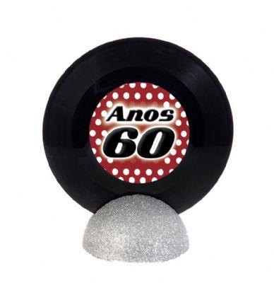 Enfeite de Mesa para Festa Anos 60 com disco de vinil