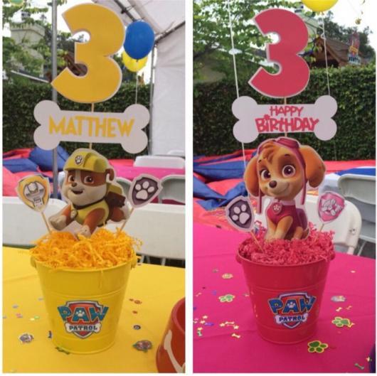 Enfeite de Mesa balde porta trecos para Festa Patrulha Canina
