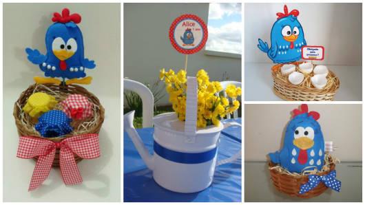 Enfeite de Mesa com regador e flores para Festa Galinha