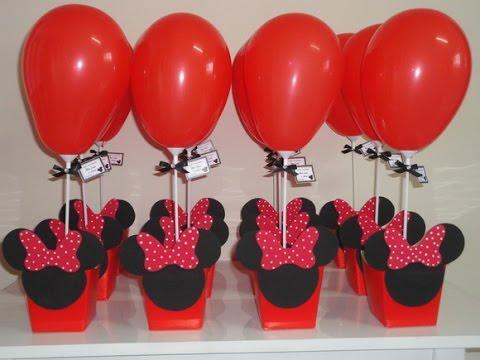 Enfeite de Mesa cachepot personalizado para Festa Minnie
