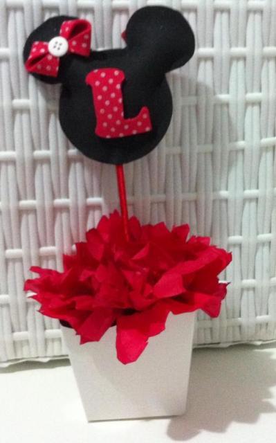 Enfeite de Mesa cachepot com rostinho da Minnie para Festa Minnie