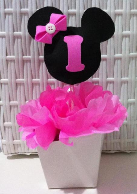 Enfeite de Mesa cachepot preto e rosa para Festa Minnie