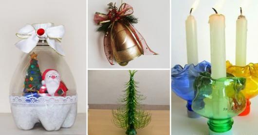 Enfeite de Mesa com garrafa pet no formato de sino para mesa de Natal