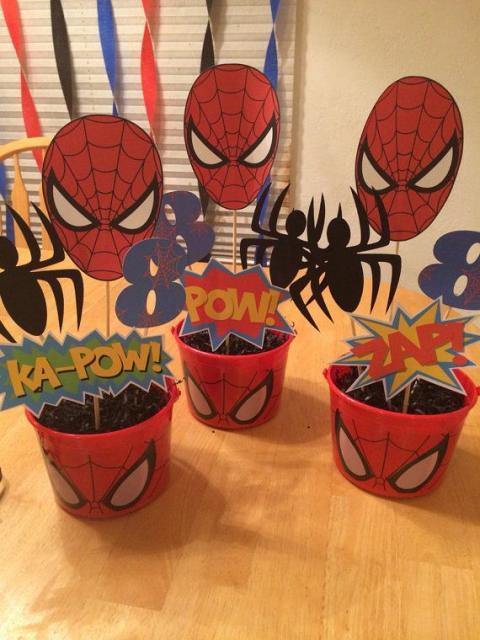 Enfeite de Mesa porta balas para Festa Homem-Aranha