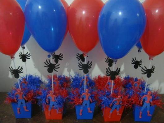 Enfeite de Mesa com bexiga para Festa Homem-Aranha