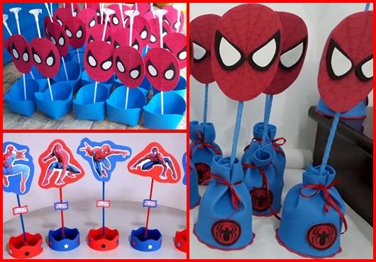 Enfeite de Mesa inspirações para Festa Homem-Aranha