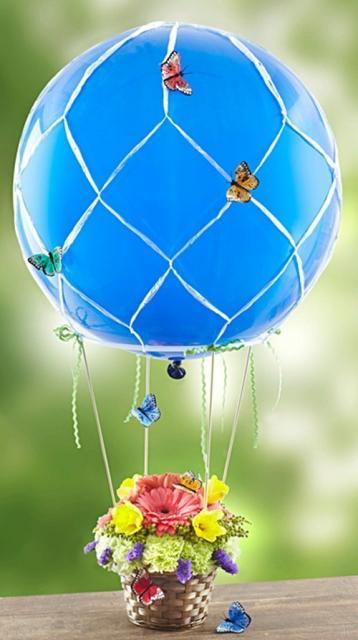 Enfeite de Mesa com bexiga no formato de balão com vasinho